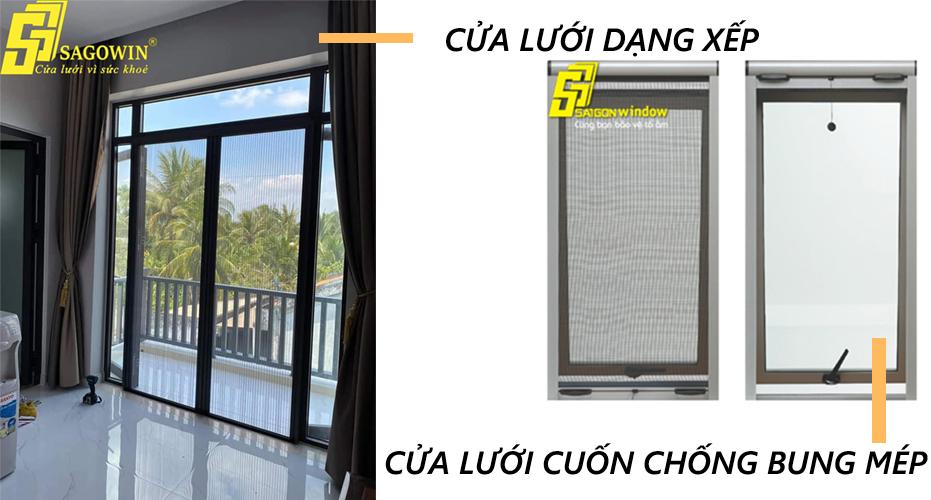Cửa lưới chống muỗi dạng xếp và dạng cuốn chống bung mép