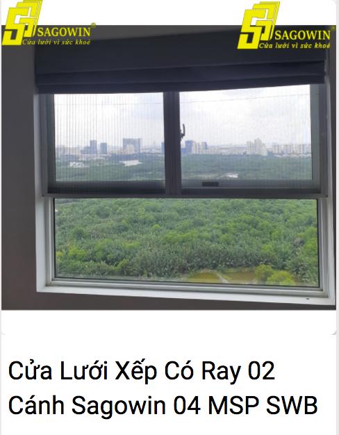 Cửa Lưới Xếp Có Ray 02 Cánh Sagowin 04 MSP SWB - LX2