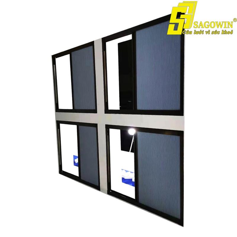 Cửa lưới xếp kết hợp màn rèm cản nắng tổ ong SB32-ML