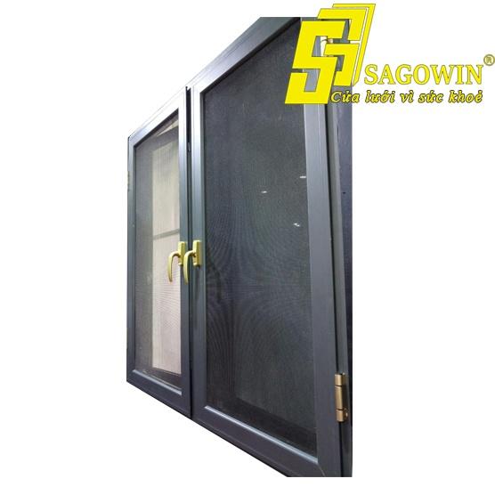 Cửa lưới chống côn trùng mở quay chống cắt nhôm hệ dày 2 cánh 01 MSP SWI-D2