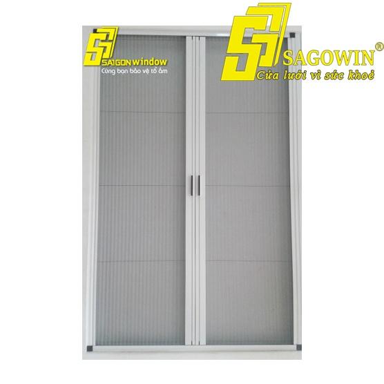 Cửa Lưới Chống Muỗi Hệ Xếp Có Ray 02 Cánh Sagowin 02 MSP SWB - LX2
